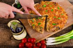 french quiche vegetarian - stock photo