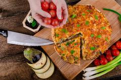 french quiche vegetarian - stock photo
