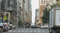 Cars Traffic Driving Avenue Midtown Manhattan New York City NYC Day  Stock Footage