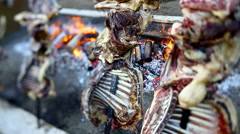 Pork on a spit in a barbecue in Sardinia, Italy. Stock Footage