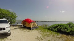 Camping on big pine key near the ocean in the florida keys Stock Footage