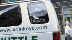 Tourism Midtown Manhattan New York City NYC USA Van Reflection Tourists Girls Stock Footage