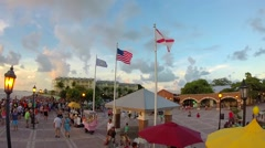 Sunset celebration at mallory square in key west, florida Stock Footage