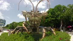 Giant florida spiny lobster rain barrel artisan village on islamorada in the Stock Footage