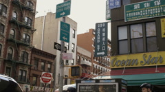 Chinatown and Little Italy Sign in Manhattan New York City NYC Stock Footage