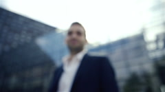 Portrait of an handsome businessman outdoor in the city Stock Footage