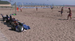 Kite festival and beach volleyball in Toronto Stock Footage