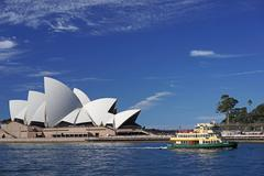 Updated view of sydney opera house - stock photo