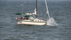 Sailboats in rough waters / seas on Lake Ontario on windy day. Stock Footage