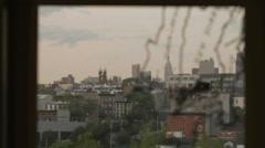 Manhattan Skyline Window Map New York City NYC Rack Focus - stock footage