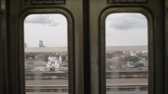 Inside Subway Train Car Window Doors Brooklyn New York City NYC  Stock Footage