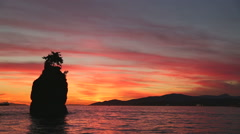 Siwash Rock Twilight, English Bay Stock Footage