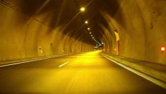 Car fast in tunnel with. driving time lapse. tunnel Stock Footage