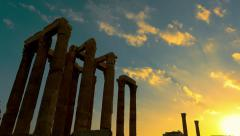 Olumpeion sunset time lapse at Temple of Zeus in Athens Greece zoom out motion Stock Footage