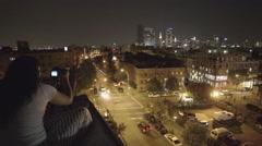 Girl Photographing Manhattan Skyline Williamsburg Brooklyn New York City NYC  - stock footage