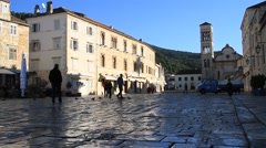 Main square landscape of Hvar island in the morning Stock Footage