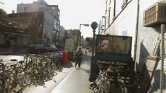 Bicycles parked in Williamsburg Brooklyn in New York City NYC Stock Footage