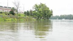 Nature - river with trees and boat - building Stock Footage