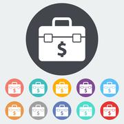 Stock Illustration of Briefcase flat single icon.