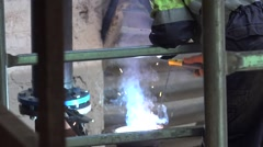 Pipe welding sparks at the factory, HD Stock Footage