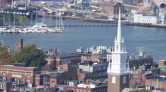 4K Old Church Spire Boston Stock Footage
