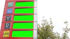 fuel station - information panel with fuel prices - green screen - tree Stock Footage