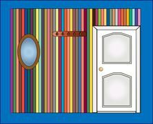 vector illustrator. door and a mirror on the wall - stock illustration