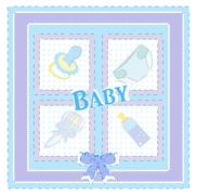 baby arrival cards. boy vector - stock illustration