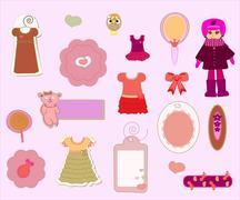 Scrapbook girl set - design elements vector Stock Illustration
