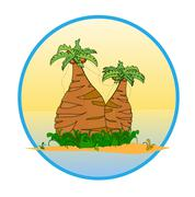 Stock Illustration of two palm tree on the tropical island  vector