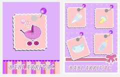 baby arrival cards. vector - stock illustration