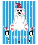 christmas illustration - teddy bear with hat, snowflake. vector - stock illustration