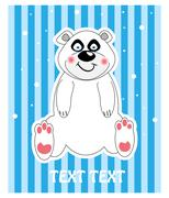 Vector background of a cute polar bear Stock Illustration