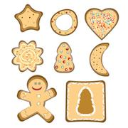 gingerbread isolated vector - stock illustration