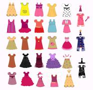 dress collection vector - stock illustration