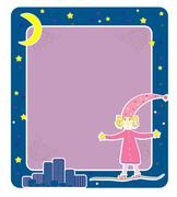 Girl in pajamas card vector Stock Illustration