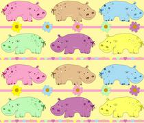 vector illustration of hippos background - stock illustration