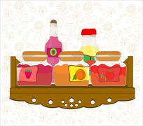 Vector picture of kitchen shelf with bottles and jam jars Stock Illustration