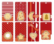 Stock Illustration of labels with gingerbread, vector illustration