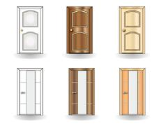 set of doors on a white background vector - stock illustration