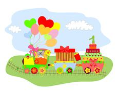 Cartoon illustration of train with landscape vector Stock Illustration