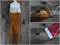 Collage of paintbrushes staining timber Stock Photos
