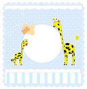 Baby boy arrival announcement card Stock Illustration