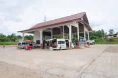 sainyabuli, laos - august 12:  bus station in sainyabuli, laos on august 12, - stock photo