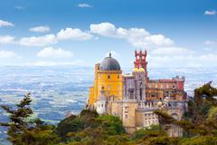 aerial view of  palácio da pena - sintra, lisboa, portugal - stock photo