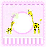 A beautiful card with two giraffes Stock Illustration