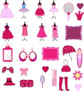Cute dress and accessories Stock Illustration