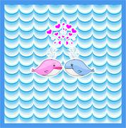 Little illustrated whale with hearts card design Stock Illustration