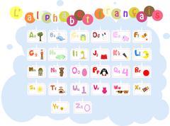 French illustrated alphabet / l'alphabet francais Stock Illustration