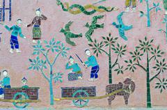 Mosaics at red chapel at wat xieng thong temple complex in luang prabang, lao Stock Photos
